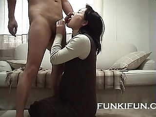 Submissive Japanese mature licking ass and dick