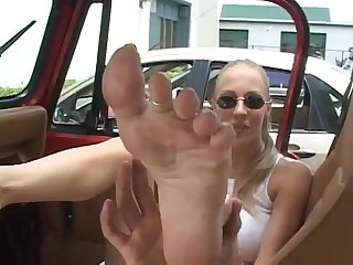 Foot fun in the car