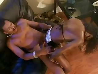 Hot ebony with natural tits rides black cock reverse cowgirl