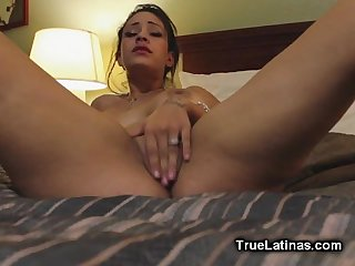 Titty latina babe playing with pussy on webcam