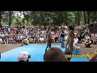 Naked Babes Public Crowd Pleasing Wrestling