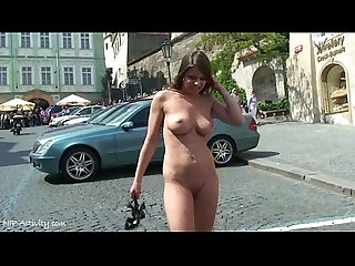 Horny babes naked on public streets
