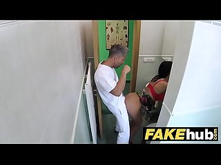 Fake hospital Toilet room blowjob and fucking with big boobs euro patient