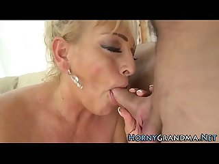 Blonde granny face jizzed