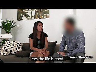 Skinny tanned amateur fucks fake agent on casting