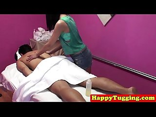 Ethnic masseuse on spycam jerking