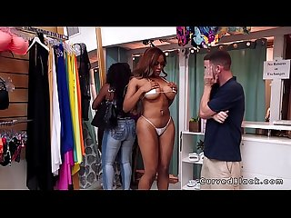 Huge ass ebony bangs in bikini shop
