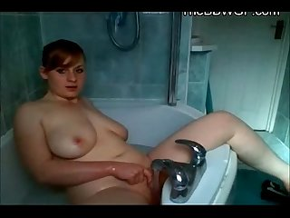 Horny chubby teen ex gf orgasming with water on her bathtub