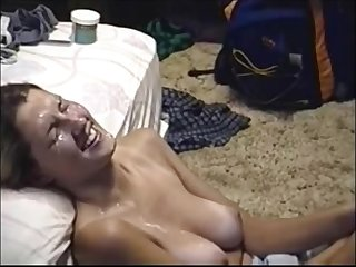 Sexy babe takes his hot jizz on her face
