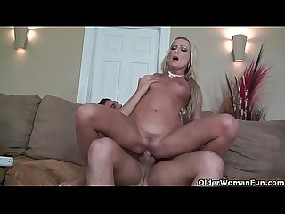 Blonde milf diana doll enjoys hard cock in mouth and pussy