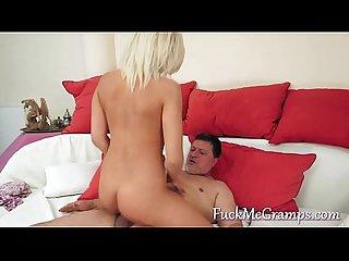 Grandpa fucked by wonderful blonde girl