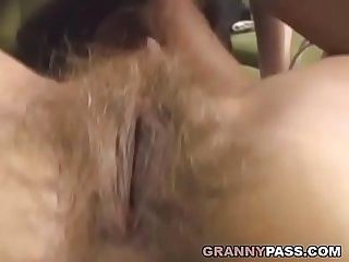Hairy Grandma Takes Young Dick