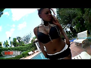 Black girl, Estrella,stripping at the pool