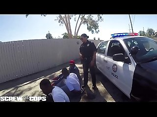Screw The cops white female cop fucked by three bbc