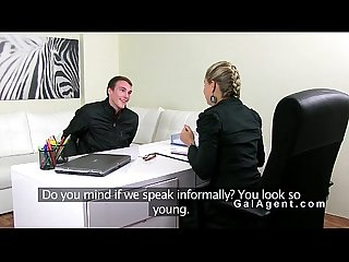 Skinny amateur dude fucks female agent in an office