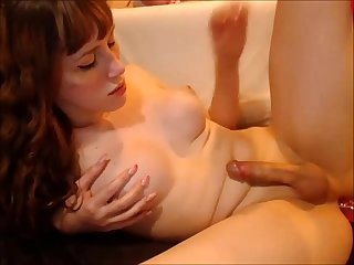 Cute Young T-Girl's Awesome Cumshot