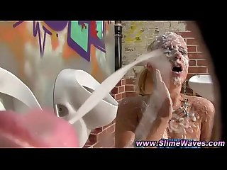 Gloryhole gives bukkake shower to blonde