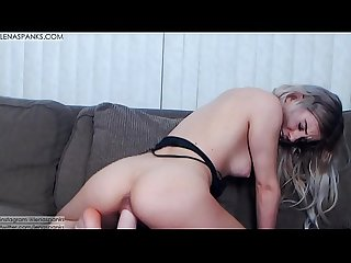 Riding huge toy and cumming twice lenaspanks