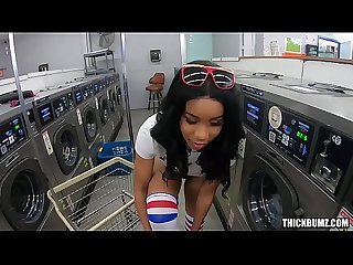 Thick Ass Babe Jenna Foxx Doing Laundry and Cock at the Laundromat