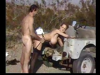 Busty Navy Officer Letha Weapons fucked doggystyle outdoors