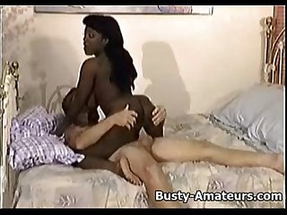 Busty ebony sierra sucking and fucking cock