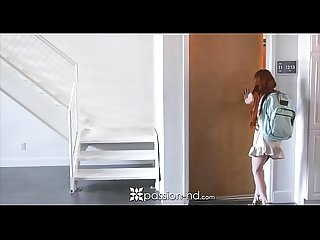 PASSION-HD Tiny redhead teen Dolly Little welcome home fuck