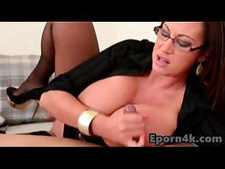 Busty brunette secretary sucking boss young