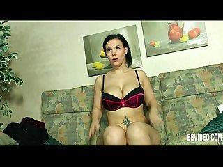 Busty brunette german milf fucking a dildo