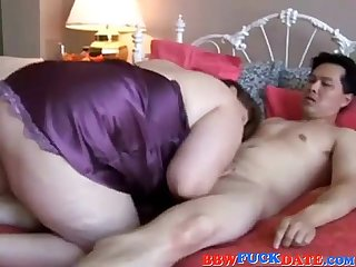 Horny white bbw fucking shy Asian guy