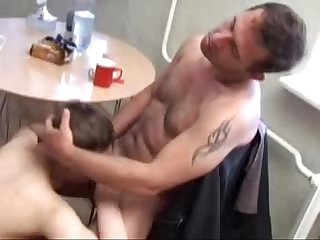 Dad fucks his son in kitchen