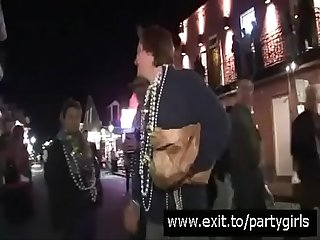 UGLY fat girl flashes ENORMOUS PERFECT UDDERS after a few drinks @ Mardi Gras