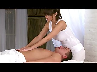Massage model amateur tugs at client during massage