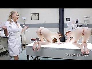 Doctor gapes and toys lesbian slaves