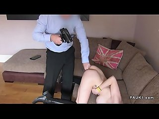 Brunette in boots Anal fucks at casting