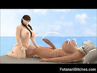 3d Futanari monster cock cumshots
