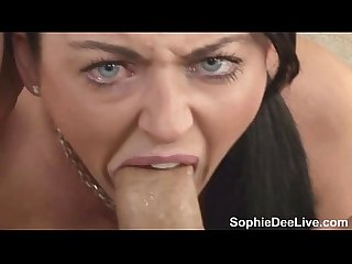 Sophie dee on her kness to suck cock