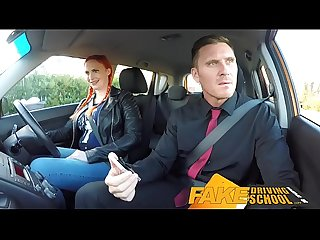 Fake Driving School Examiner sprays cum all over learners hairy pussy