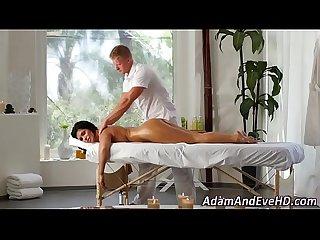 Massaged busty milf fucks