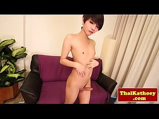 Ladyboy jerking cock while in stockings