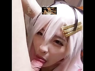 Cosplay Anime girl sucking small dick