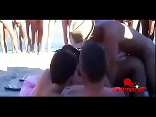 Hedonism nudist beach group orgy