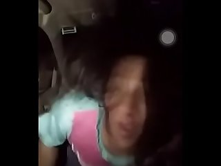 Desi boob show and dance in car