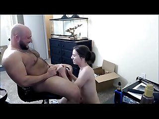 Cute tranny deepthroating a fat dude