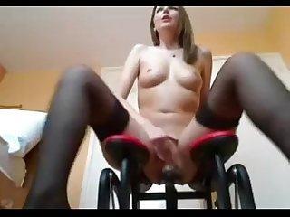 Ashley rides sex machine rubs clit and squirts damncam net