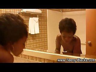 Teen horny black babe gets facial