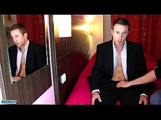 Marc a real str8 banker get wanked his huge cock in spite of him