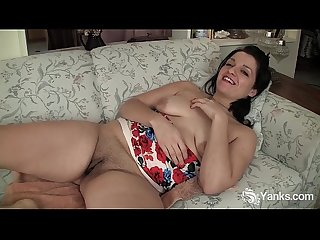 Busty lady masturbating with a kitchen tool