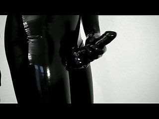 Trying on my new tight shiny latex pants and gloves