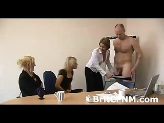 Cfnm minxes strip unlucky guy in office for condom test