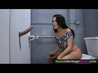 Pretty teen Megan Rain gets pounded in public comfort room